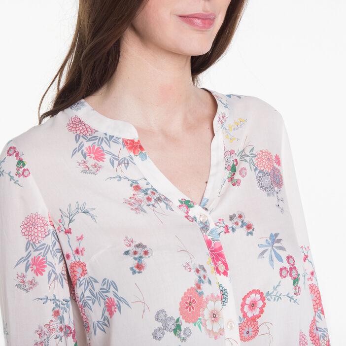 Chemise imprimée floral rose poudrée femme