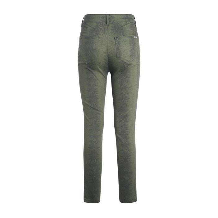 Pantalon imprimé serpent vert kaki femme
