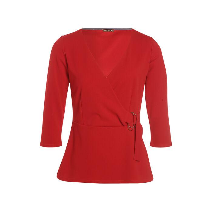 T-shirt manches 3/4 col croisé rouge femme