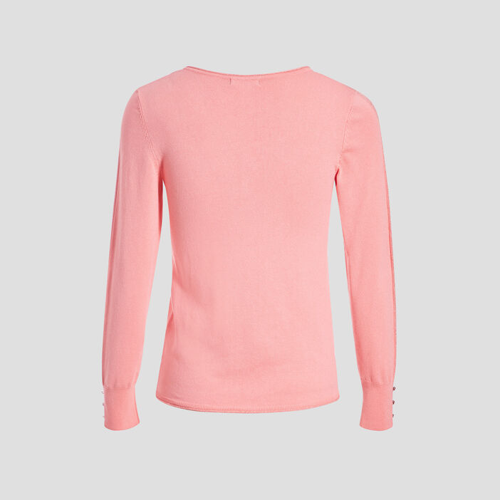 Pull manches longues rose vif femme
