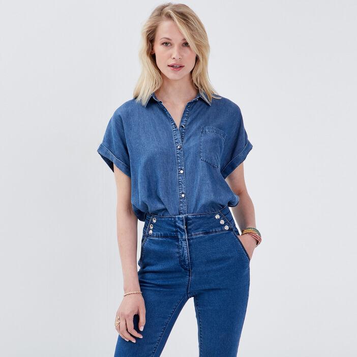 Chemise en jean denim double stone femme