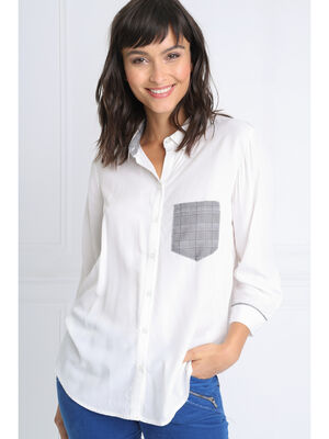 Chemise manches 34 a poche blanc femme