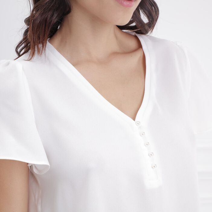 Chemise avec perles ecru femme
