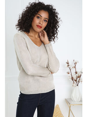 Pull manches longues col V couleur or femme