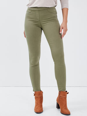 Pantalon tregging vert kaki femme