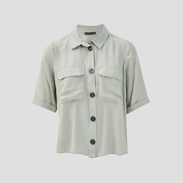 Chemise manches courtes vert clair femme