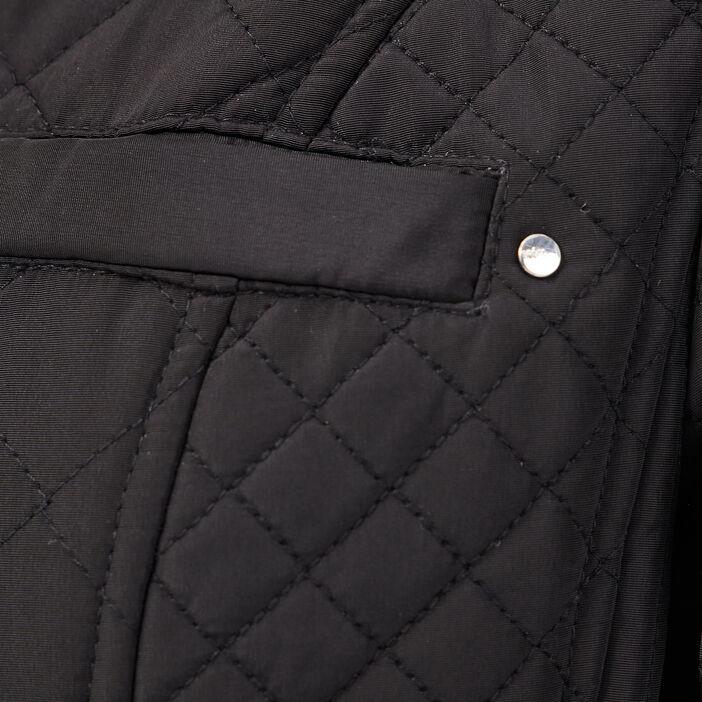 Doudoune droite à capuche noir femme