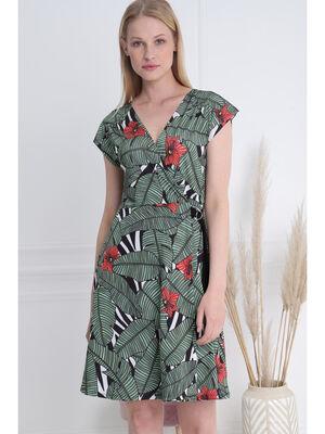 Robe cintree col en V vert femme