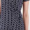 Robe portefeuille ajustee bleu marine femme