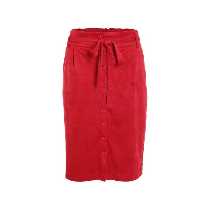Jupe droite suédée boutonnée rouge foncé femme
