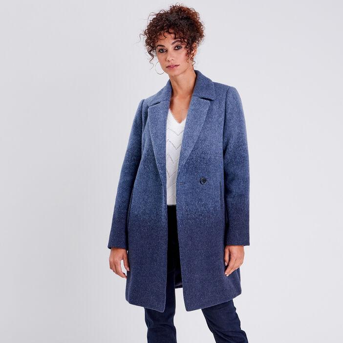 Manteau droit boutonné bleu femme