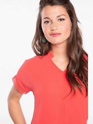 T shirt manches courtes col mao rose fushia femme