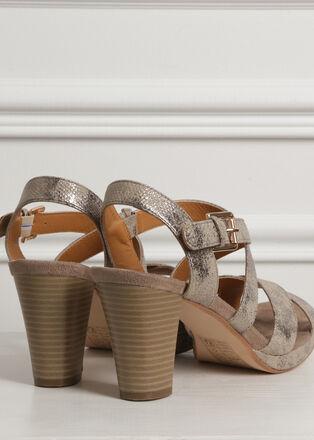Sandales a brides croisees sable femme