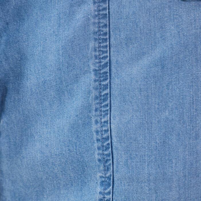 Robe droite boutonnée denim double stone femme