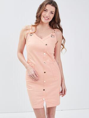 Robe ajustee a bretelles rose clair femme