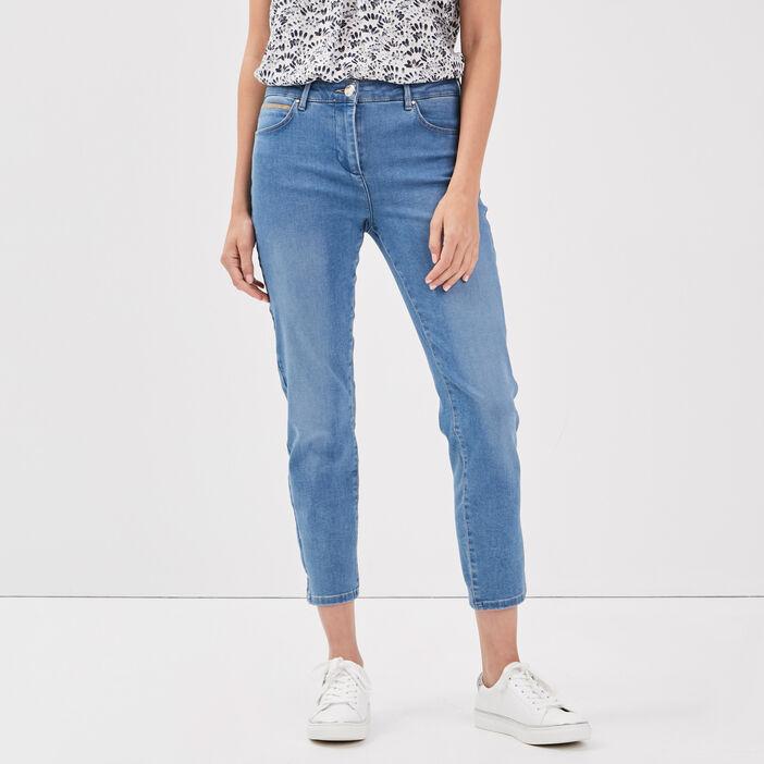 Jeans ajusté taille basculée denim stone femme