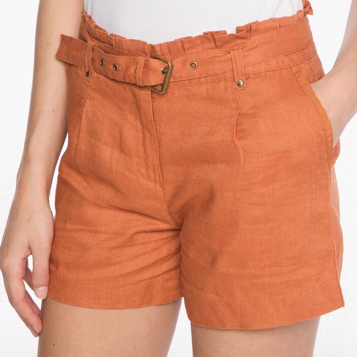 Short paperbag coloris uni orange foncé femme