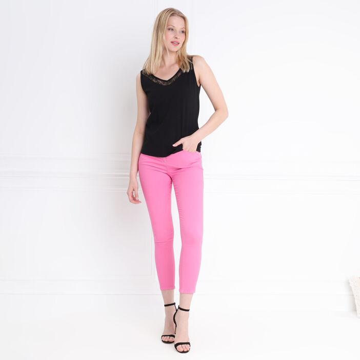 Pantalon léger toucher doux rose fushia femme