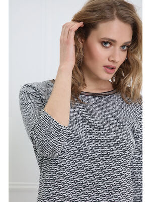 T shirt manches 34 col rond noir femme
