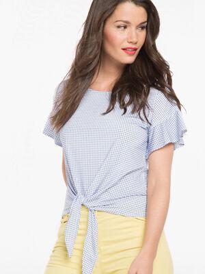 T shirt manches courtes volant vichy bleu violet femme