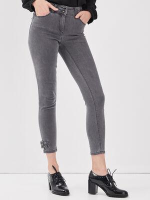 Pantalon ajuste avec boucles gris fonce femme