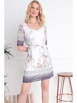 fb86e2dd718 Robe manches coudes sublimation ecru femme. Achat rapide