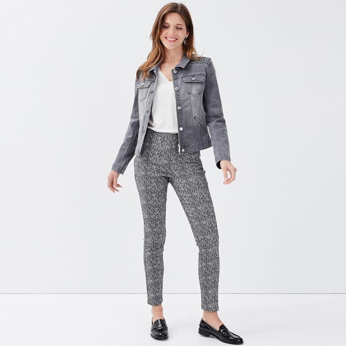 Pantalon tregging taille haute blanc femme