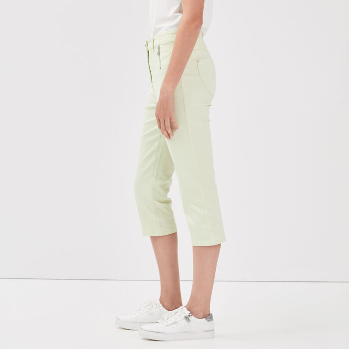 Pantacourt taille haute vert pastel femme