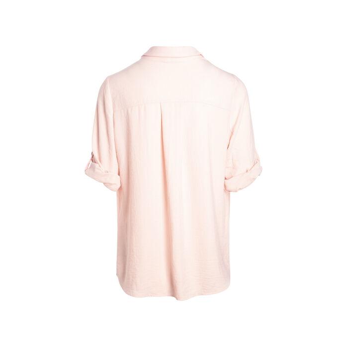 Blouse manches 3/4 boutonnées rose poudrée femme