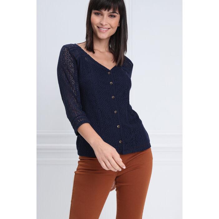 T-shirt manches 3/4 dentelle bleu marine femme