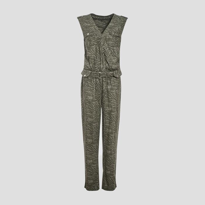 Combinaison pantalon ceinturé vert kaki femme