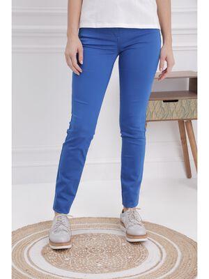 Pantalon ajuste taille basculee bleu femme