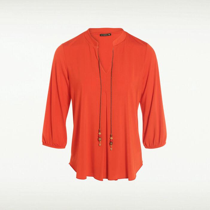 T-shirt manches 3/4 à cordons rouge corail femme