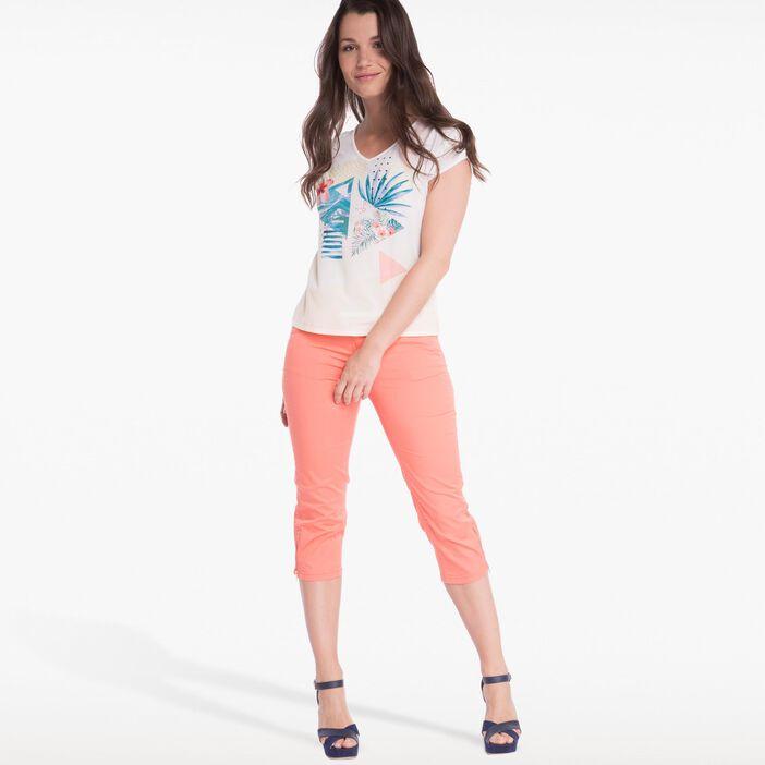 Pantacourt avec ceinture orange corail femme