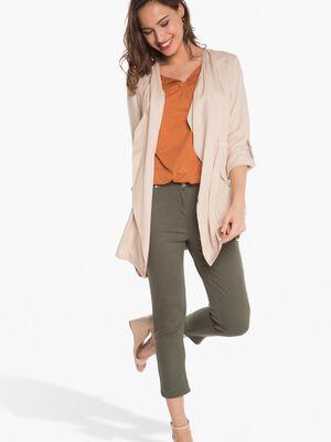 Pantalon 78eme ajuste taille basculee vert fonce femme
