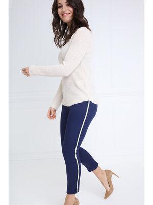 Pantalon taille basculee bleu fonce femme