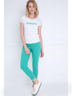 Pantalon ajuste taille haute vert femme