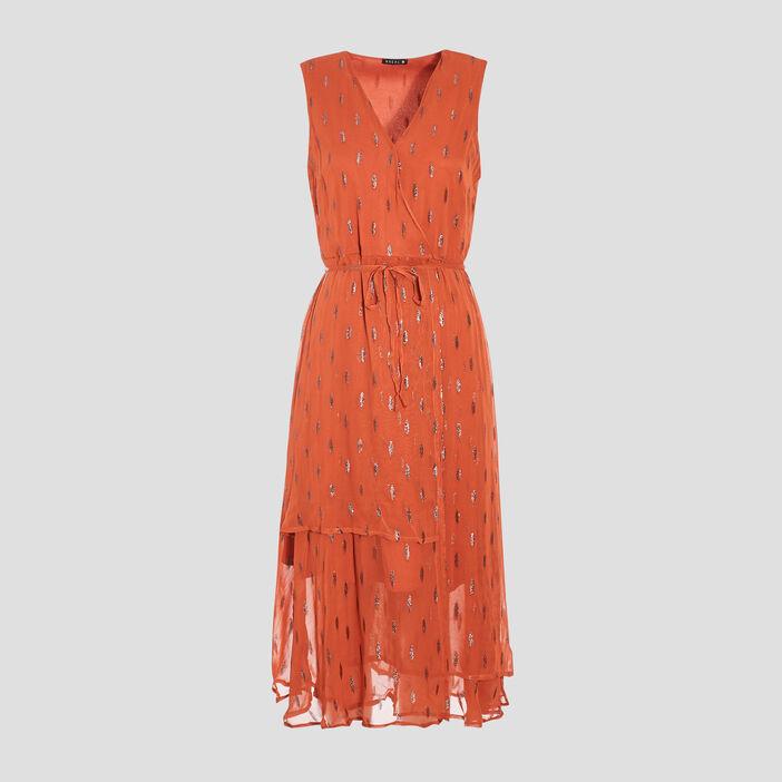 Robe midi évasée orange foncé femme