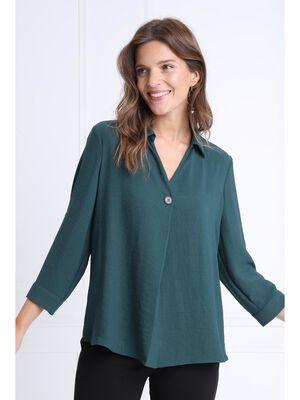 Blouse manches 34 boutonnees vert fonce femme