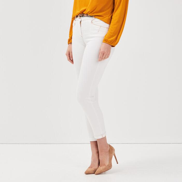 Pantalon ajusté ceinturé ecru femme