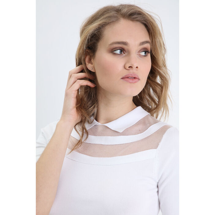 Pull manches courtes col polo blanc femme