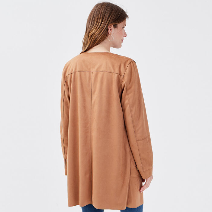 Manteau droit boutonné camel femme