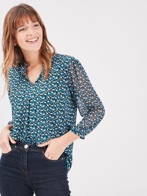 T shirt manches 34 bleu turquoise femme