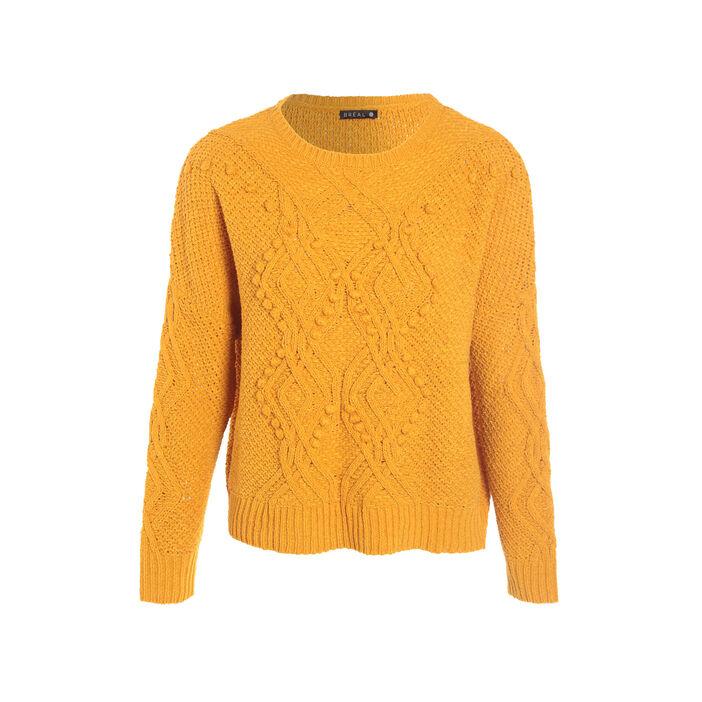 Pull manches longues torsadé jaune or femme