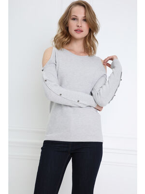 Pull perle gris clair femme