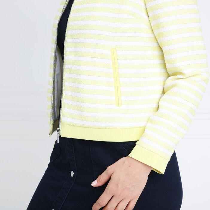 Veste jacquard rayée jaune pastel femme