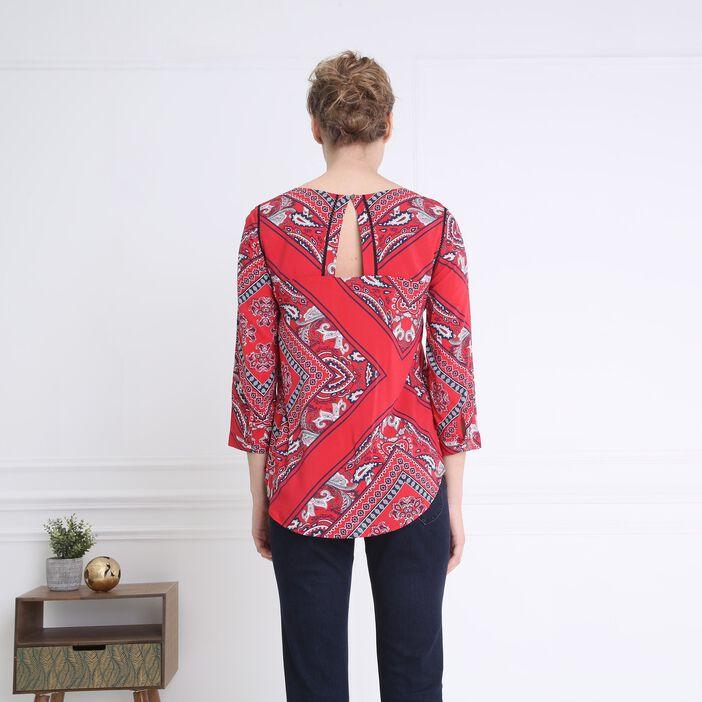 Tunique imprimé détails épaules rouge femme