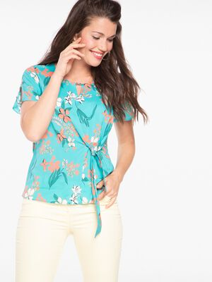 Chemise manches courtes imprimee vert turquoise femme