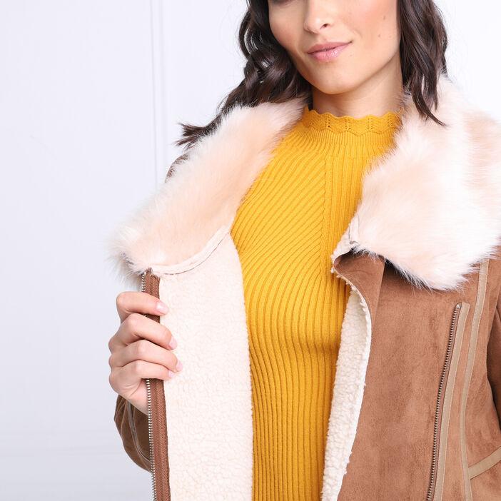 Manteau cintré fausse fourrure marron clair femme