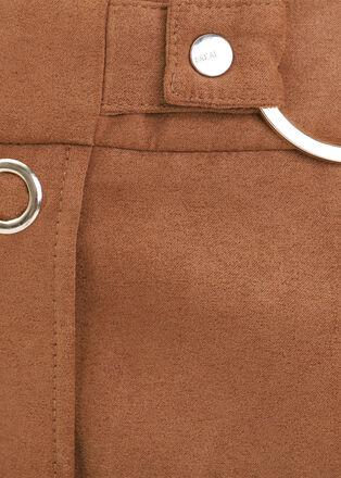 Jupe droite effet suedine avec boutons marron clair femme
